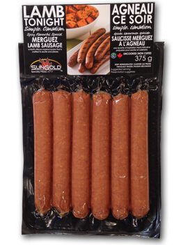 SunGold Lamb Sausages in Packaging