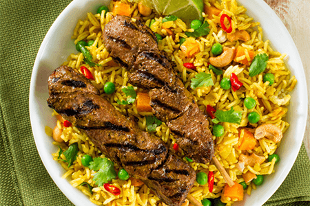 Curried Lamb Kabobs with Biryani Rice
