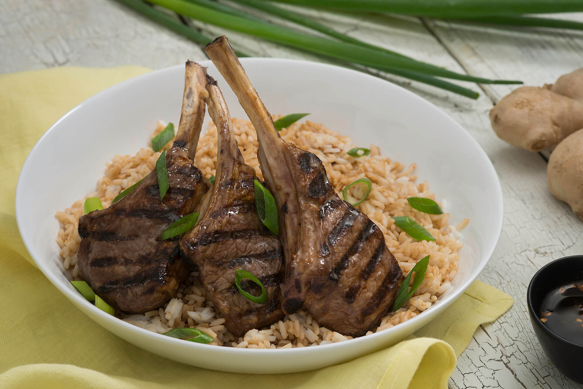 Grilled Ginger Soy Lamb Chops with Rice