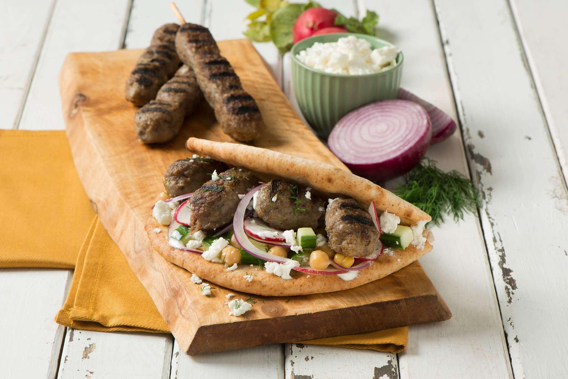 Lamb Gyros Pita with Tzatziki Sauce Dinner