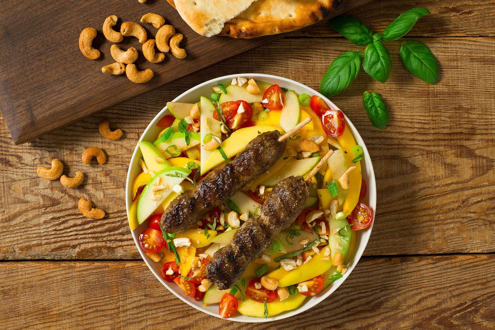 Lamb Kabobs with Mango Apple Salad