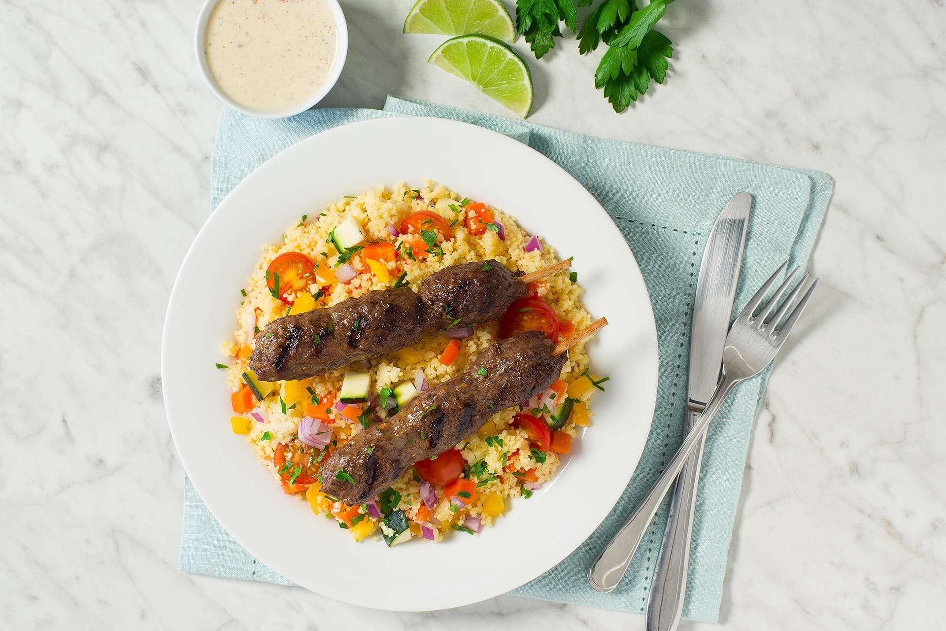Lamb Kafta with Couscous salad