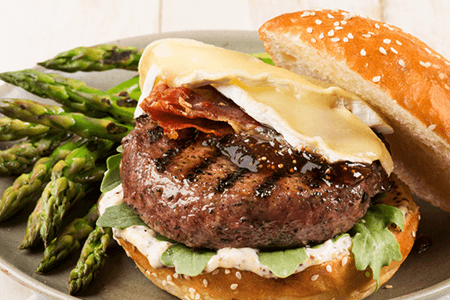 Lamb Burgers with Brie and Prosciutto