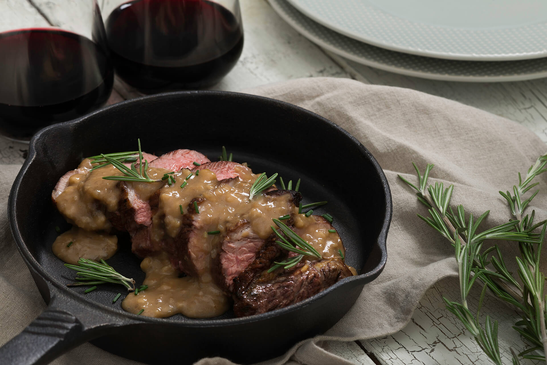 Pan Roasted Lamb with Cognac Sauce