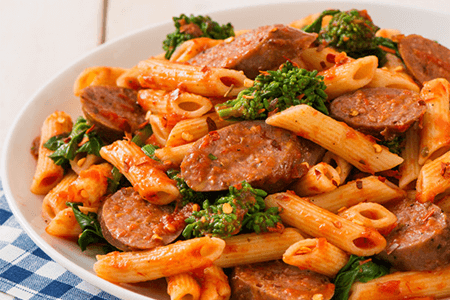 Rapini and Garlic Penne with Lamb Sausage