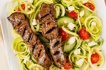 Souvlaki Lamb Kabobs with Spiralized Zucchini Salad