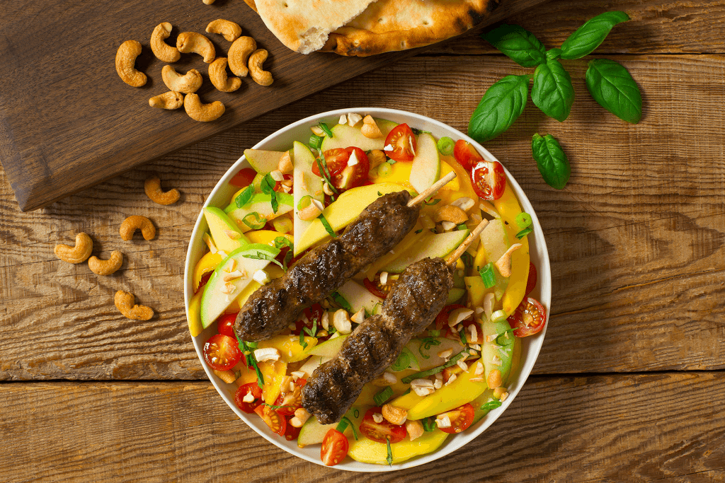 Lamb Kabobs with Mango Apple Salad