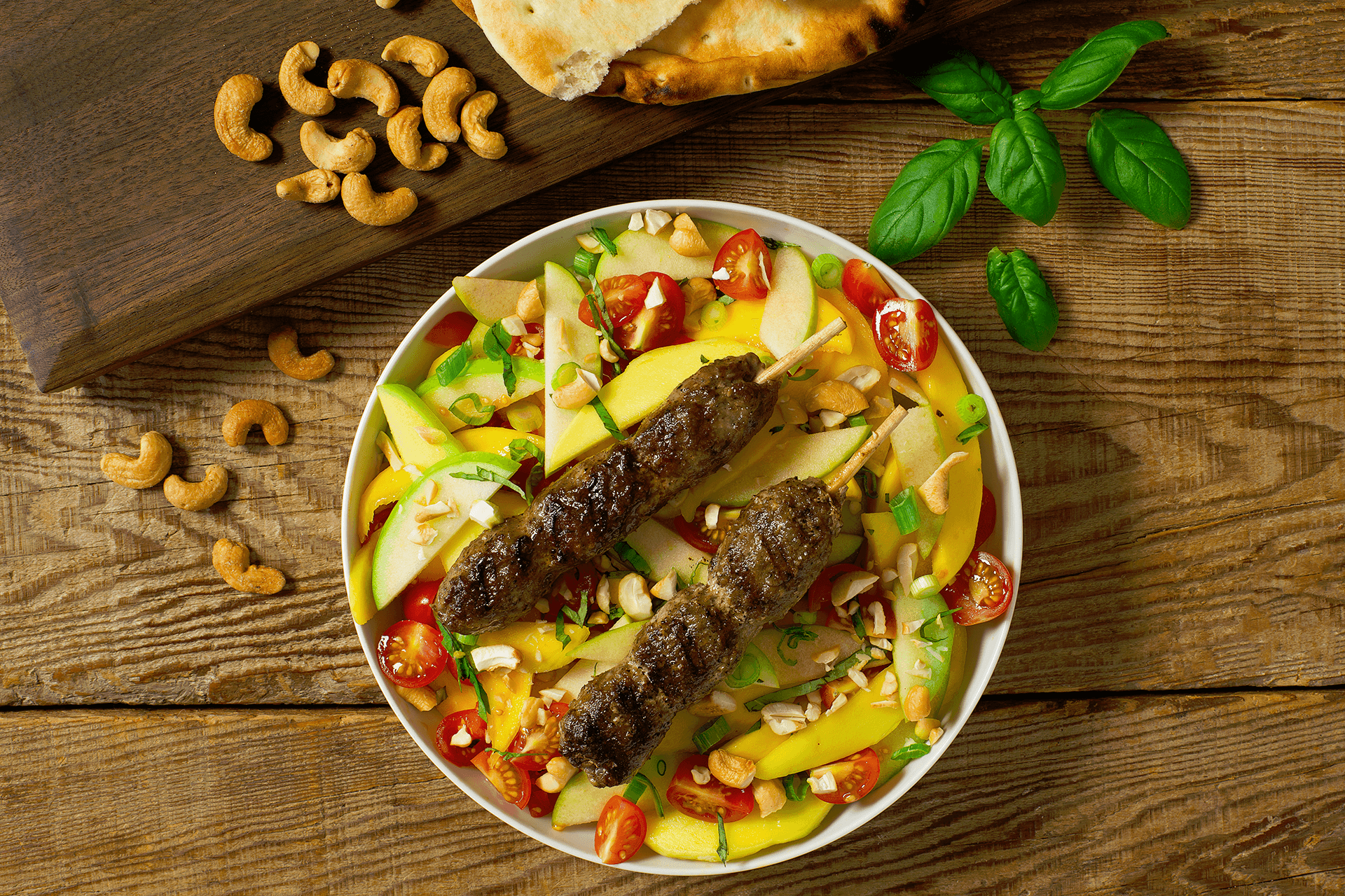 Hot and lazy summer days call for light meals like our Lamb Tonight Lamb Kabobs with Mango Apple Salad.